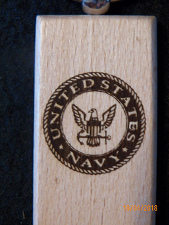 Navy Wood Key Tag