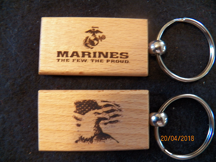 U.S. MARINES WOOD KEY TAG
